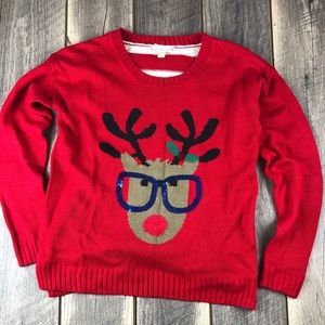 It's Our Time Reindeer Christmas Stripe Sweater S